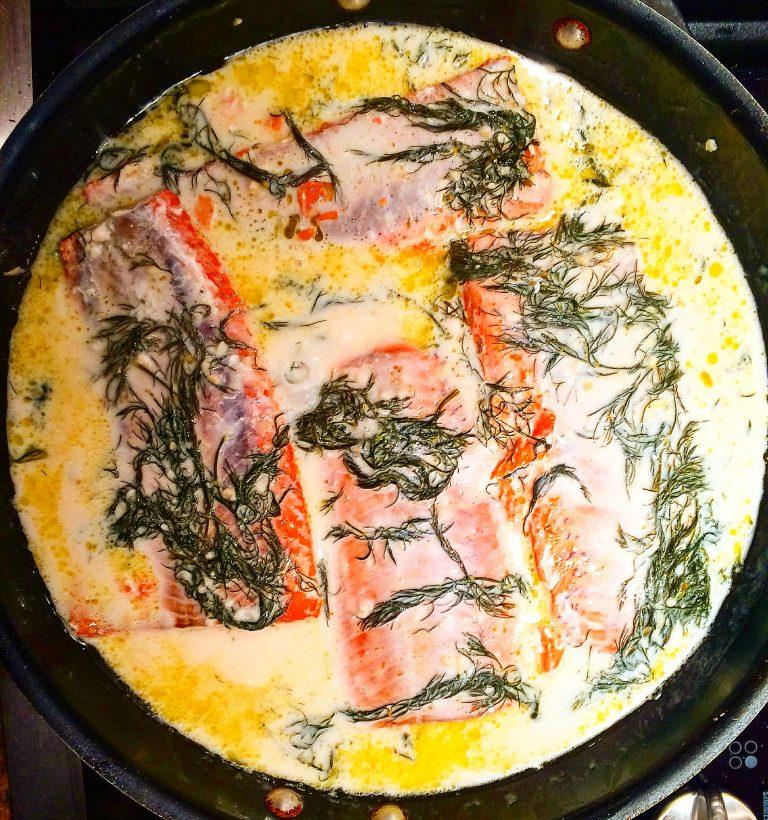 Wild Salmon with Creamy Dill Sauce